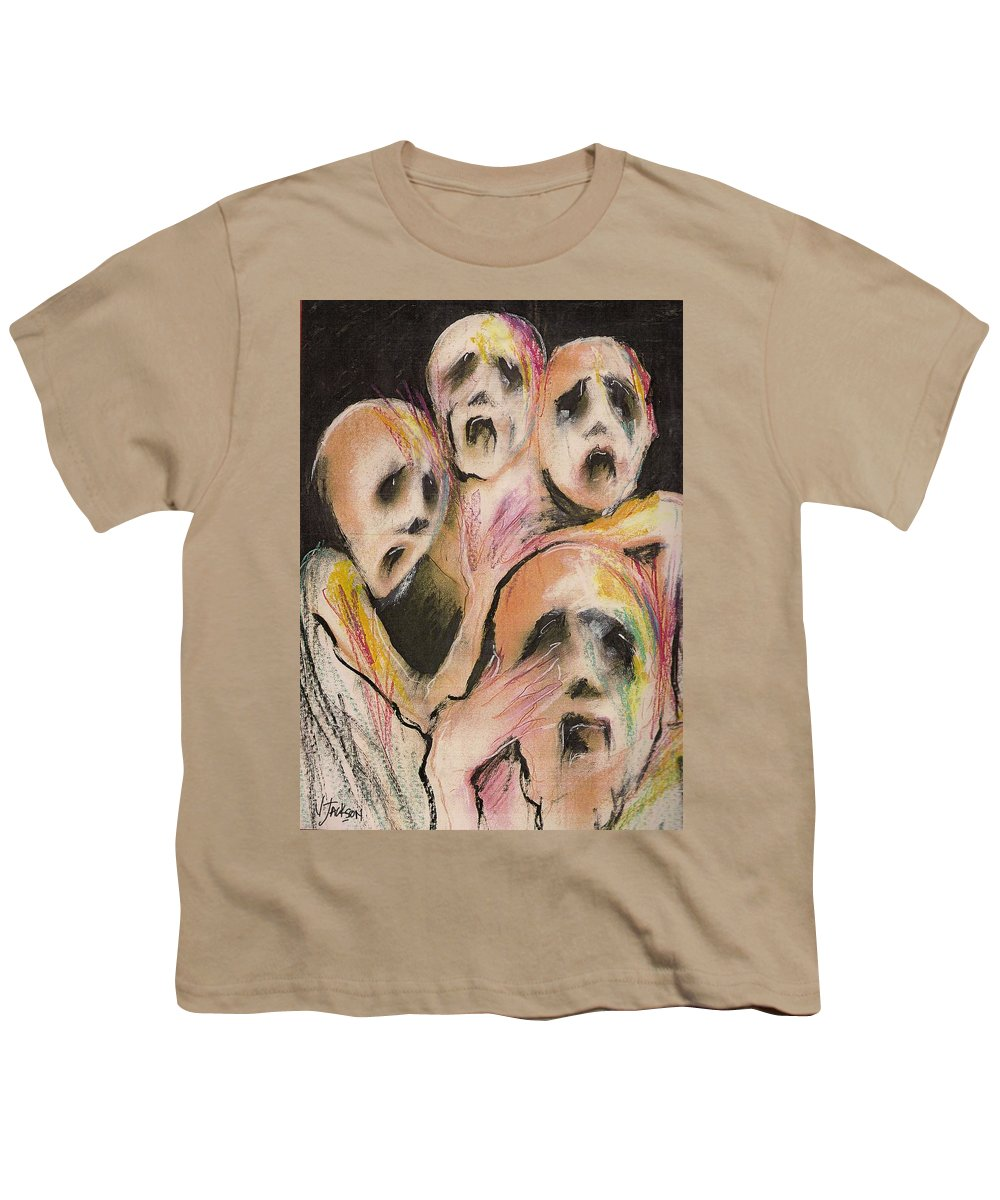 War Cry Tears Horror Fear Darkness Youth T-Shirt featuring the mixed media No Words by Veronica Jackson