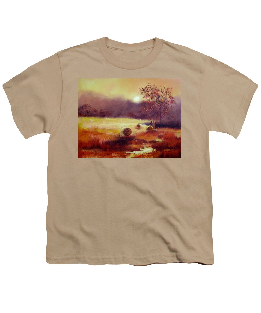 Fall Landscapes Youth T-Shirt featuring the painting October Pasture by Ginger Concepcion