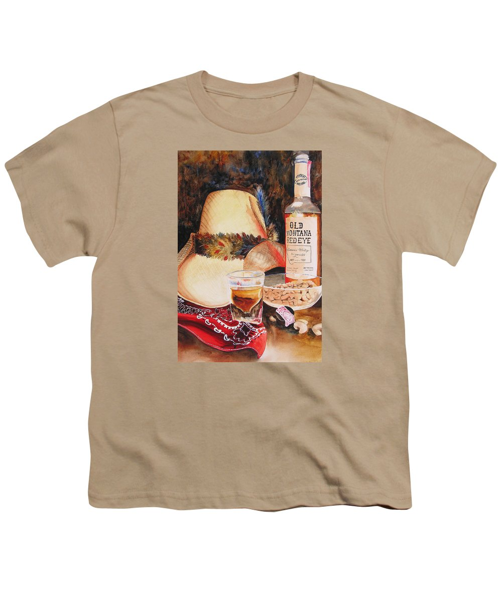 Whiskey Youth T-Shirt featuring the painting Old Montana Red Eye by Karen Stark