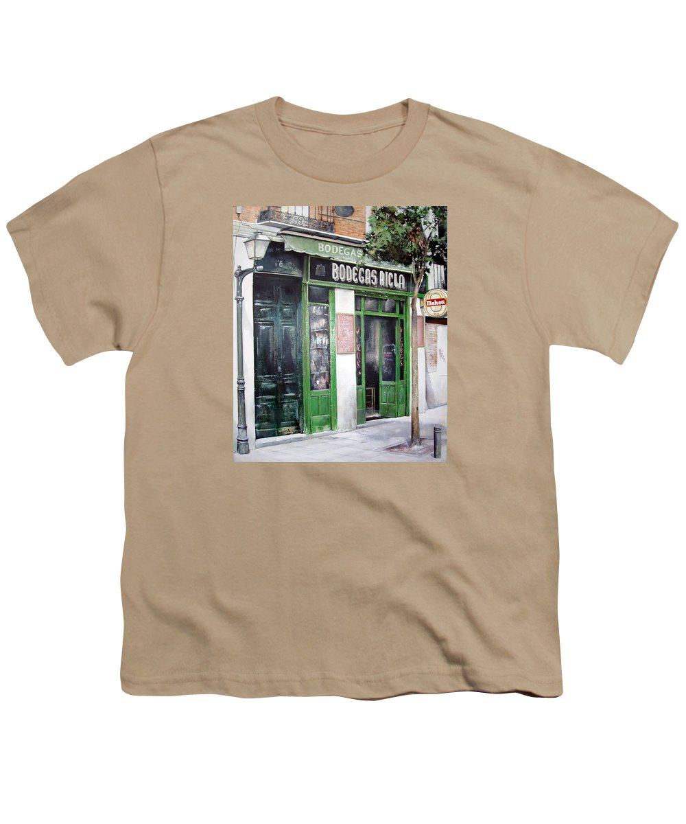 Bodegas Youth T-Shirt featuring the painting Old Tavern-madrid by Tomas Castano