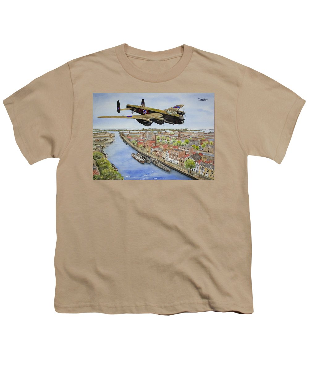 Lancaster Bomber Youth T-Shirt featuring the painting Operation Manna II by Gale Cochran-Smith