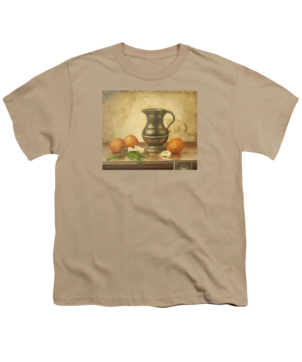 Still Life Youth T-Shirt featuring the painting Oranges by Natalia Tejera