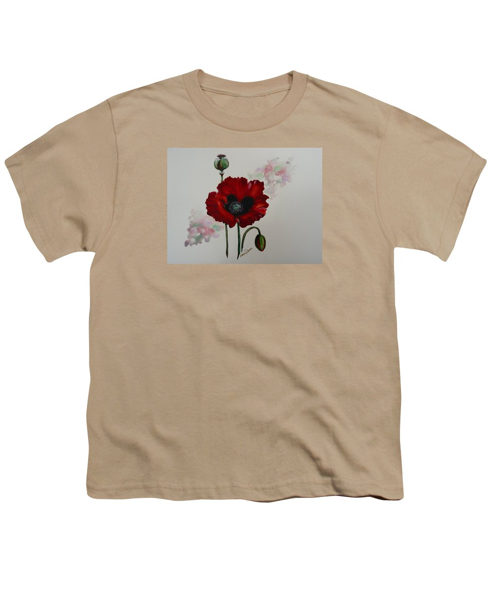 Floral Poppy Red Flower Youth T-Shirt featuring the painting Oriental Poppy by Karin Dawn Kelshall- Best