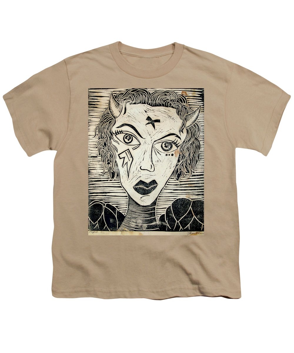 Block Print Youth T-Shirt featuring the print Original Devil Block Print by Thomas Valentine