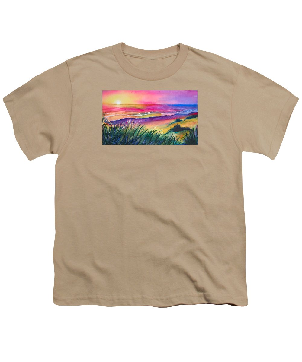 Pacific Youth T-Shirt featuring the painting Pacific Evening by Karen Stark
