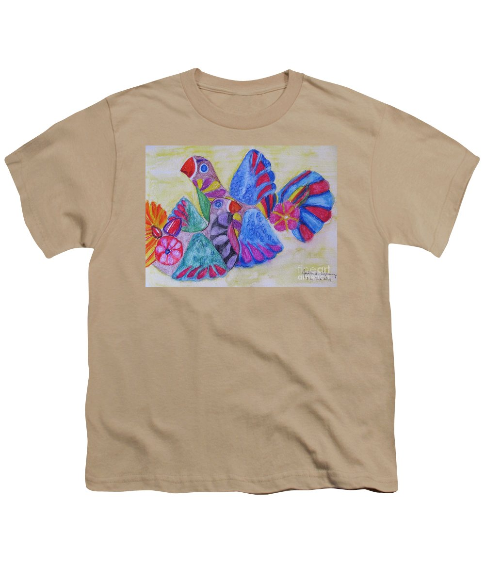 Bright Colors Youth T-Shirt featuring the painting Palomas - Gifted by Judith Espinoza