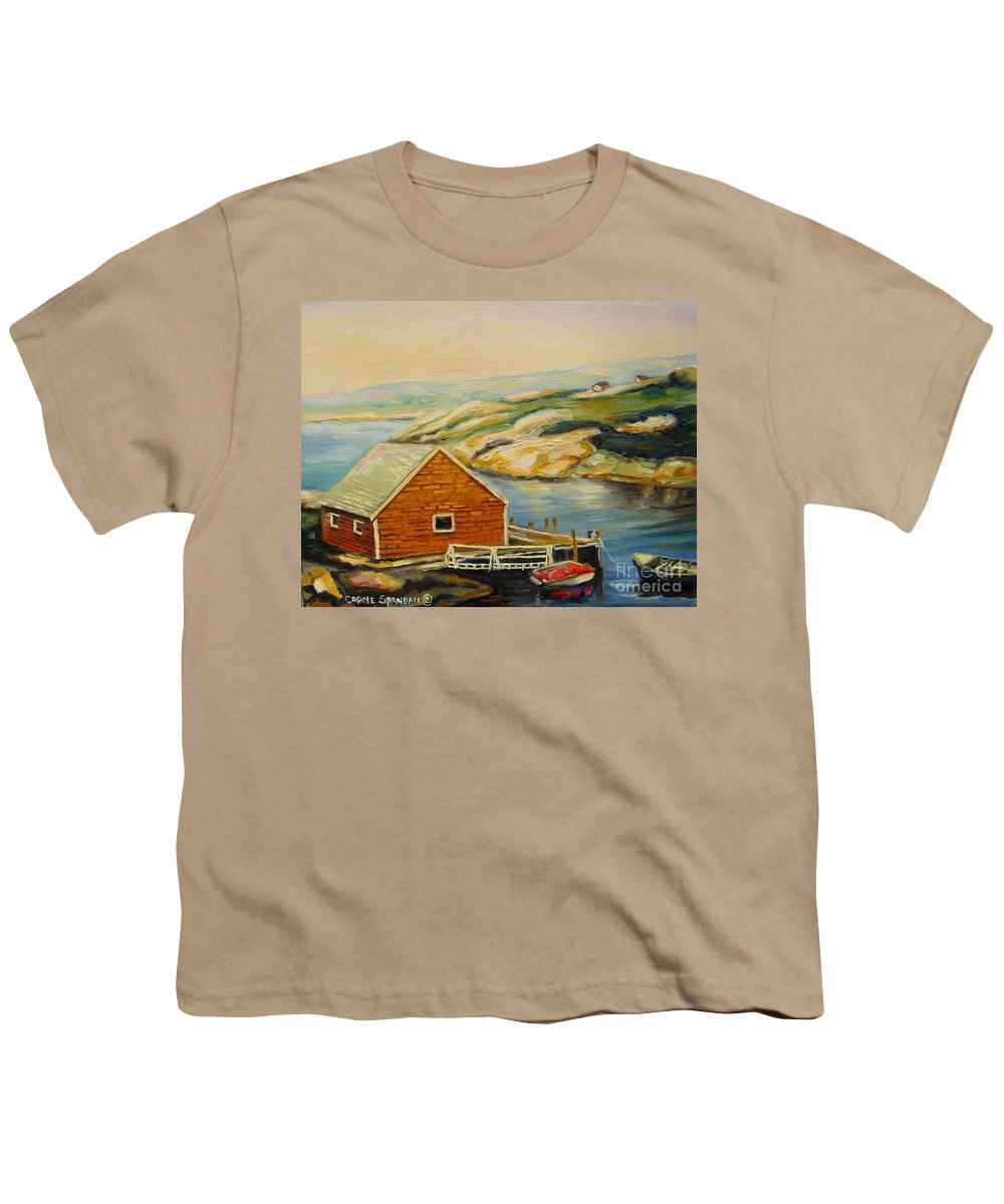 Peggy's Cove Harbor View Youth T-Shirt featuring the painting Peggys Cove Harbor View by Carole Spandau
