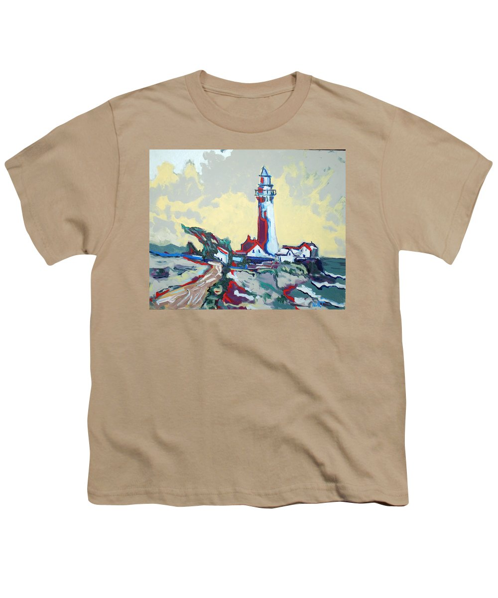 Ligthouse Youth T-Shirt featuring the painting Pigeon Point by Kurt Hausmann