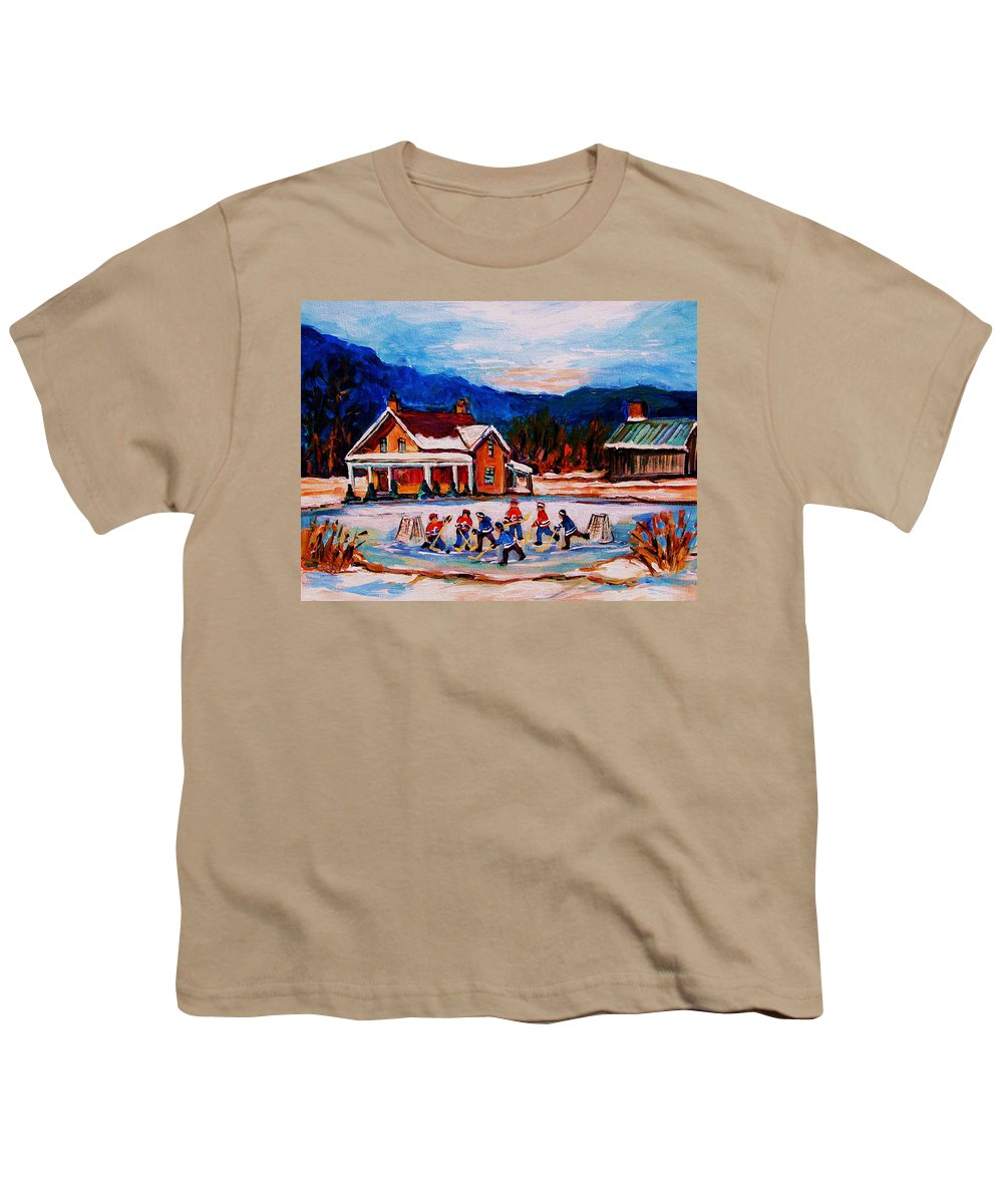 Hockey Youth T-Shirt featuring the painting Pond Hockey by Carole Spandau