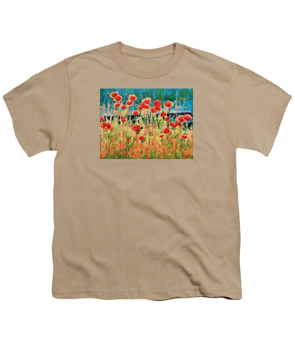 Poppies Youth T-Shirt featuring the painting Poppies And Traverses 2 by Iliyan Bozhanov