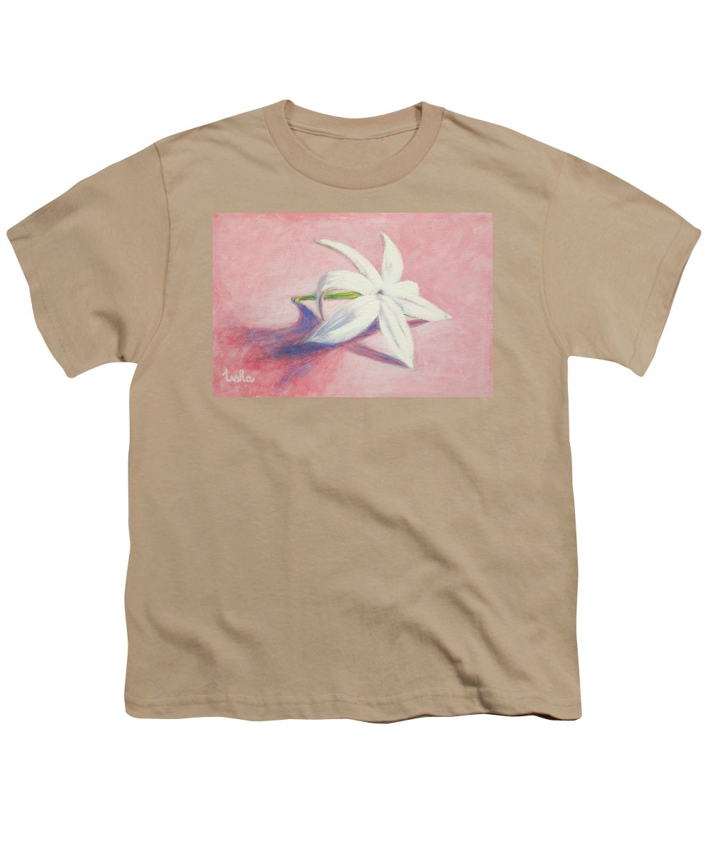Portrait Youth T-Shirt featuring the painting Portrait Of The Jasmine Flower by Usha Shantharam