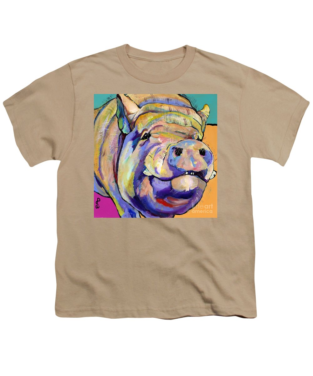 Pig Prints Youth T-Shirt featuring the painting Potbelly by Pat Saunders-White