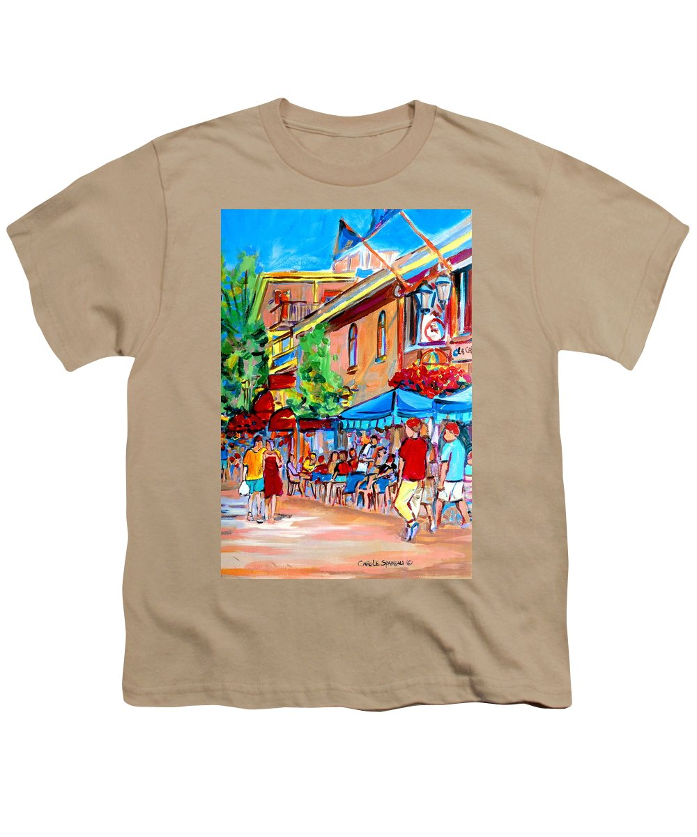 Cafes Youth T-Shirt featuring the painting Prince Arthur Street Summer by Carole Spandau
