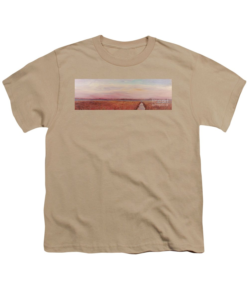 Landscape Youth T-Shirt featuring the painting Provence Camargue by Nadine Rippelmeyer
