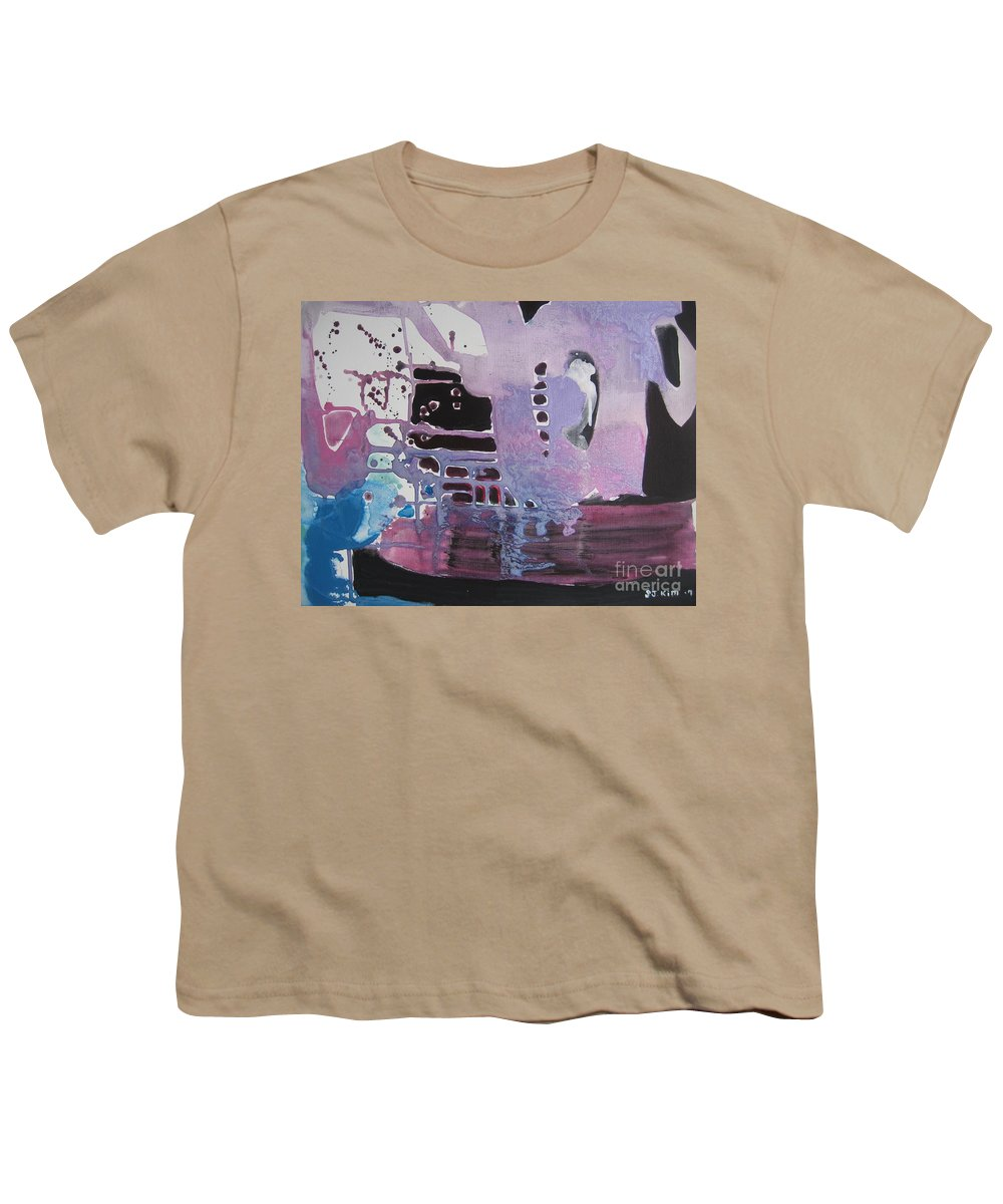Abstract Paintings Youth T-Shirt featuring the painting Purple Seascape by Seon-Jeong Kim
