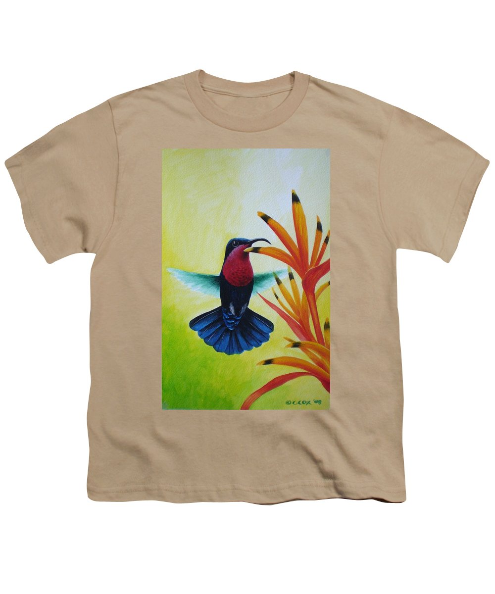 Purple-throated Carib Youth T-Shirt featuring the painting Purple-throated Carib And Bird Of Paradise by Christopher Cox