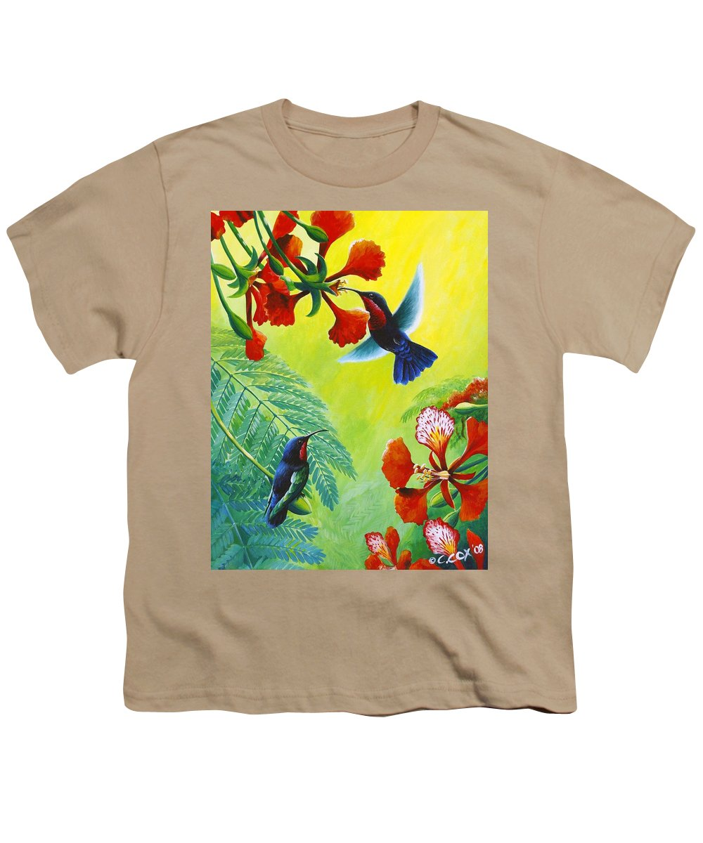 Chris Cox Youth T-Shirt featuring the painting Purple-throated Caribs And Flamboyant by Christopher Cox