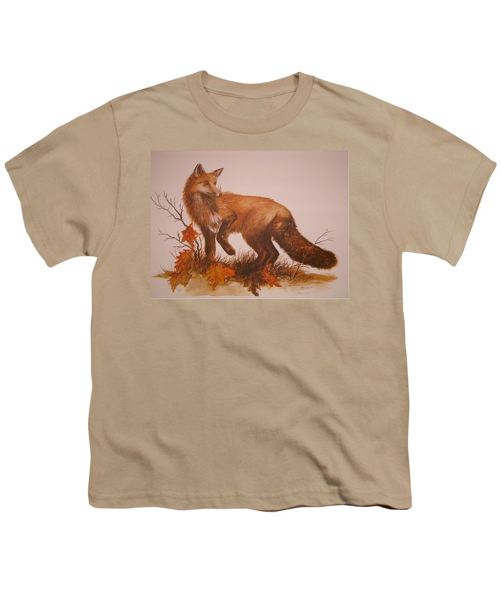Nature Youth T-Shirt featuring the painting Red Fox by Ben Kiger