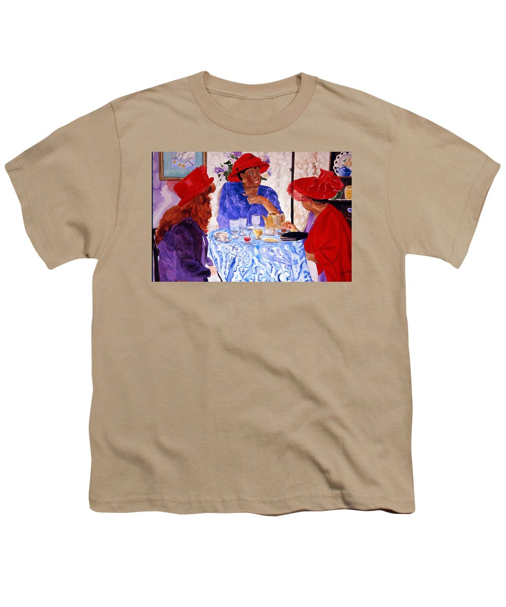 Red Hat Youth T-Shirt featuring the painting Red Hatters Chatter by Jean Blackmer