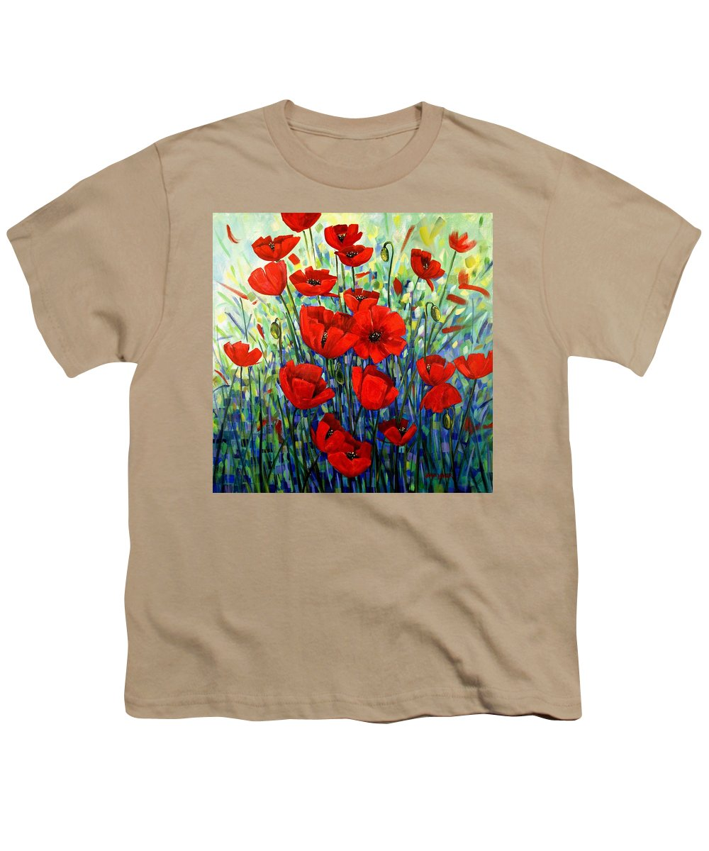Floral Youth T-Shirt featuring the painting Red Poppies by Georgia Mansur
