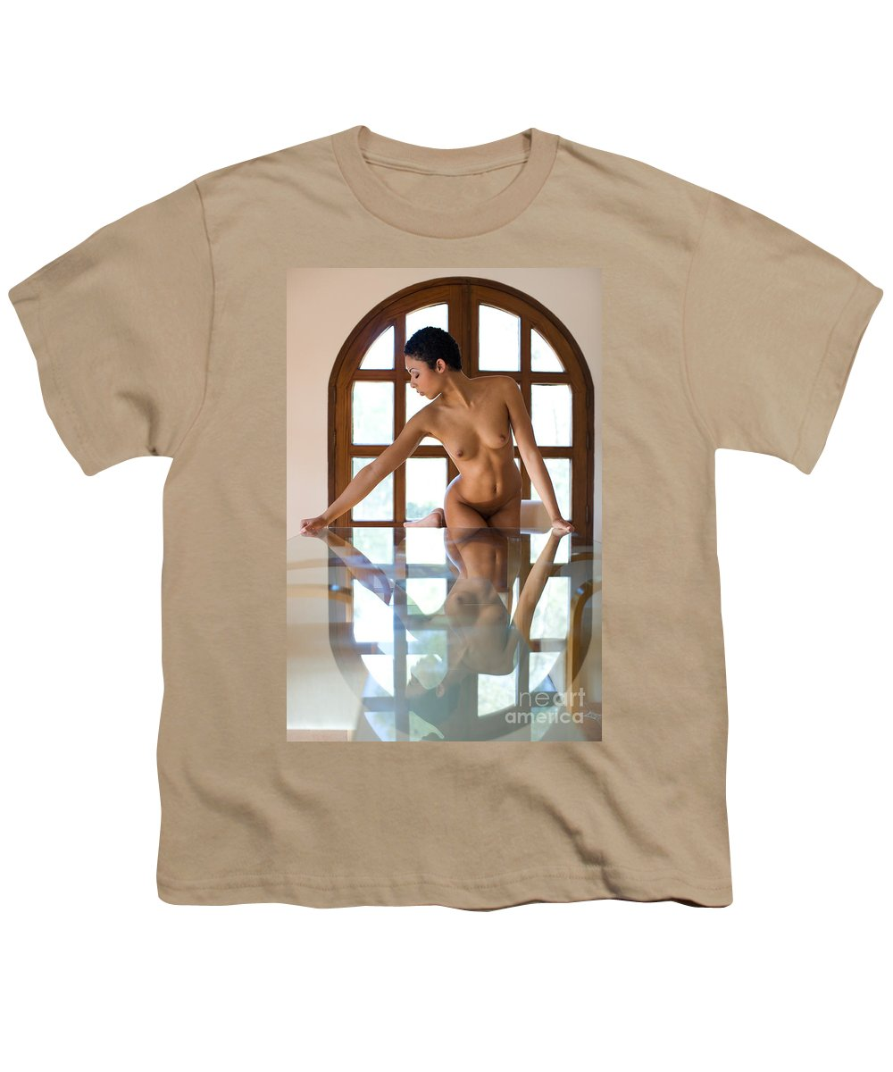 Sensual Youth T-Shirt featuring the photograph Reflection Time Again by Olivier De Rycke