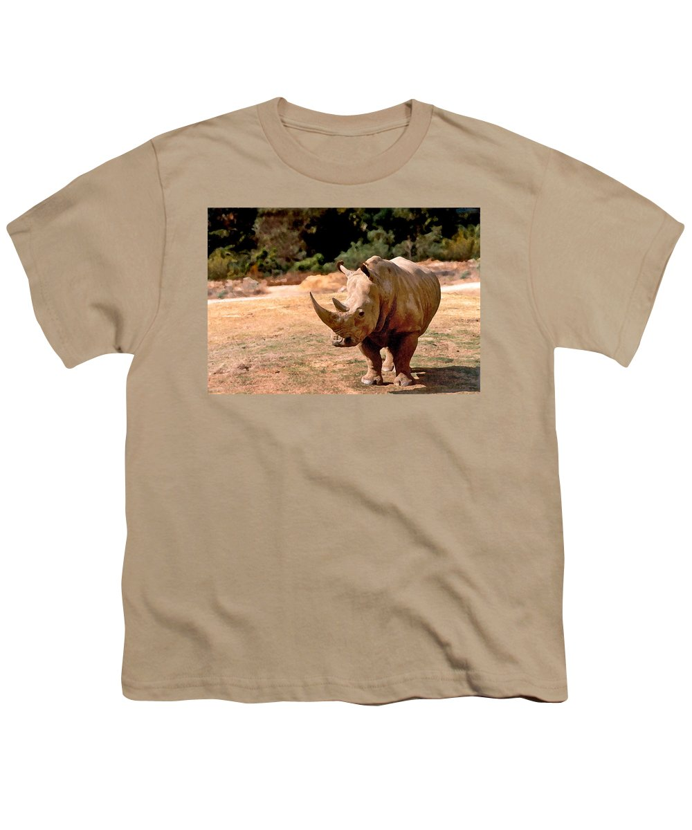 Animal Youth T-Shirt featuring the painting Rhino by Steve Karol