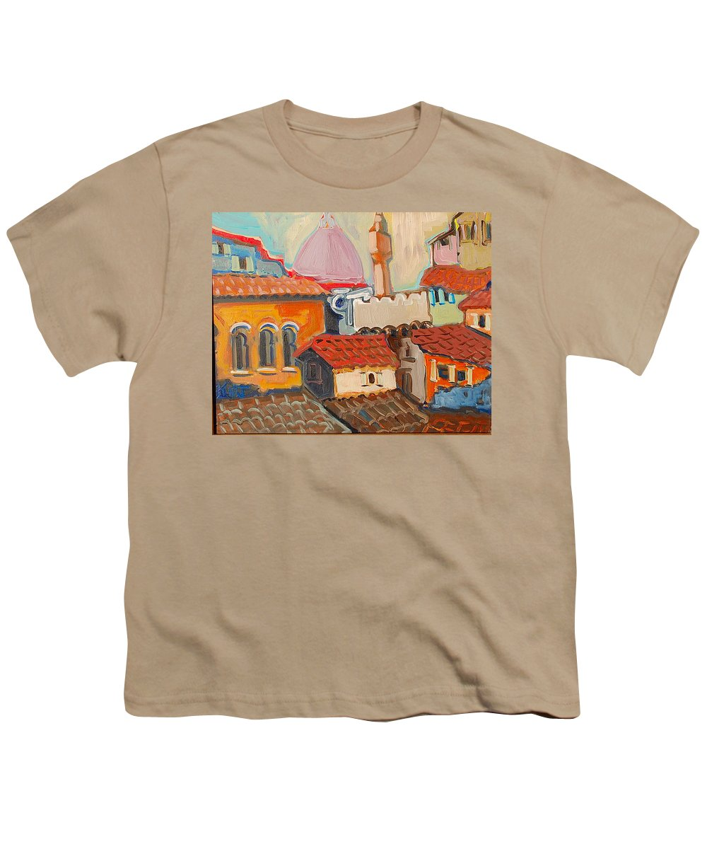 Florence Youth T-Shirt featuring the painting Rooftops by Kurt Hausmann