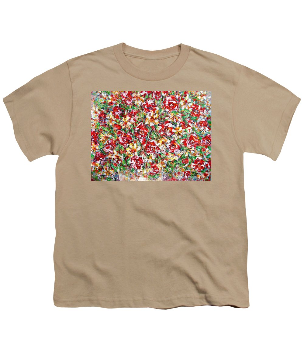 Red Roses Youth T-Shirt featuring the painting Roses For You by Natalie Holland