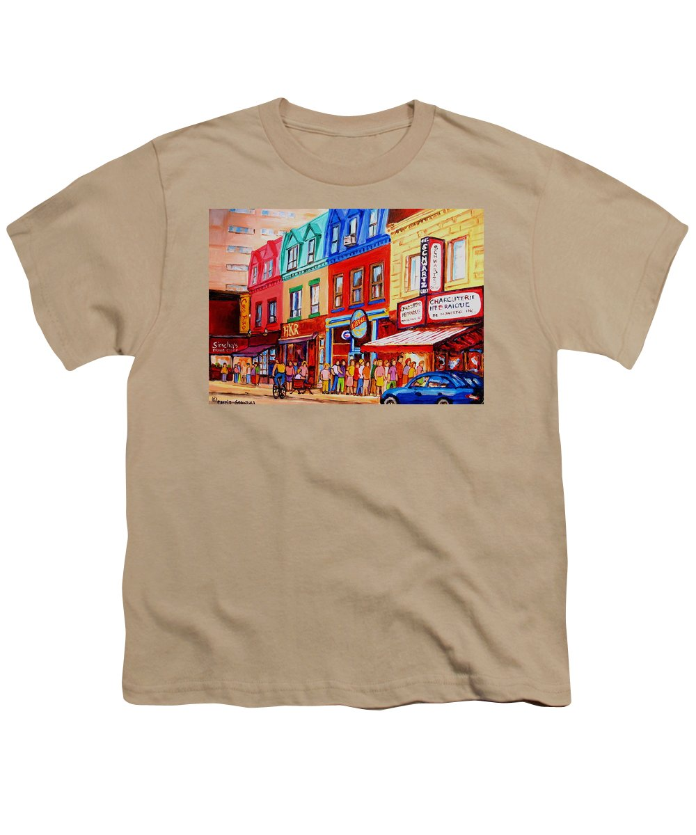 Cityscape Youth T-Shirt featuring the painting Schwartz Lineup With Simcha by Carole Spandau