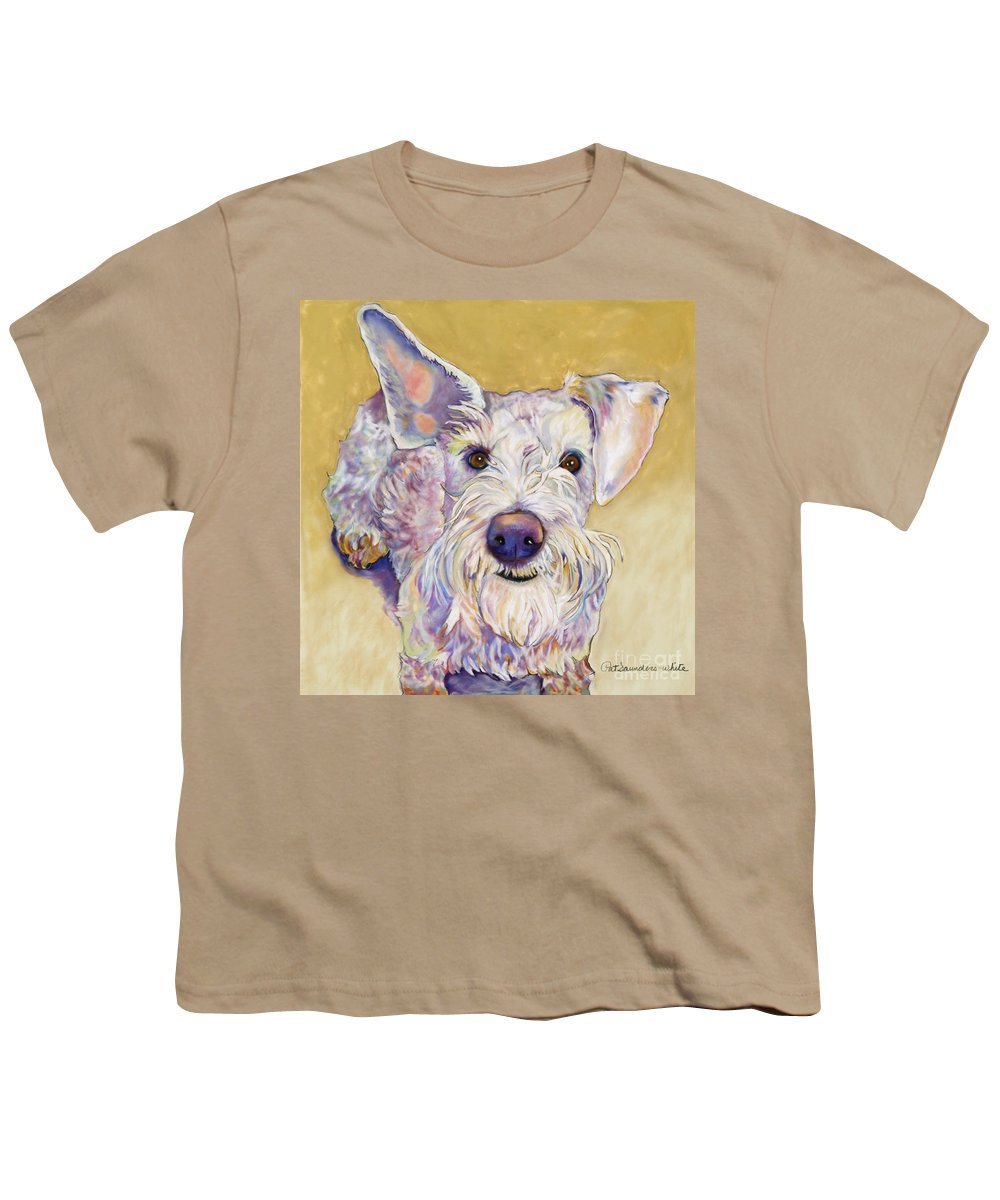 Schnauzer Youth T-Shirt featuring the pastel Scooter by Pat Saunders-White