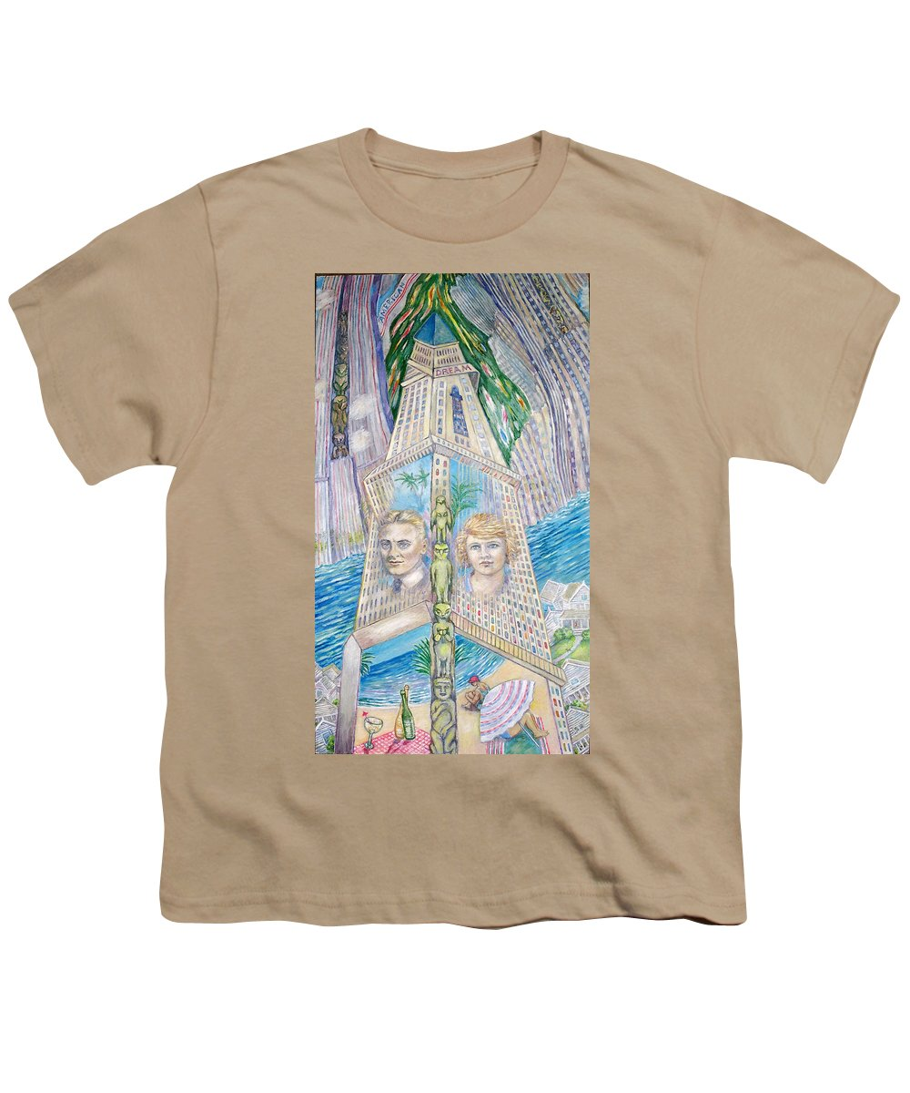 New York Fantasy Youth T-Shirt featuring the painting Scott And Zelda In Their New York Dream Tower by Patricia Buckley