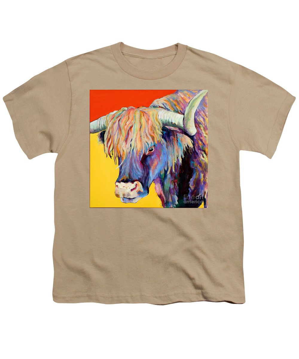 Farm Animal Youth T-Shirt featuring the painting Scotty by Pat Saunders-White