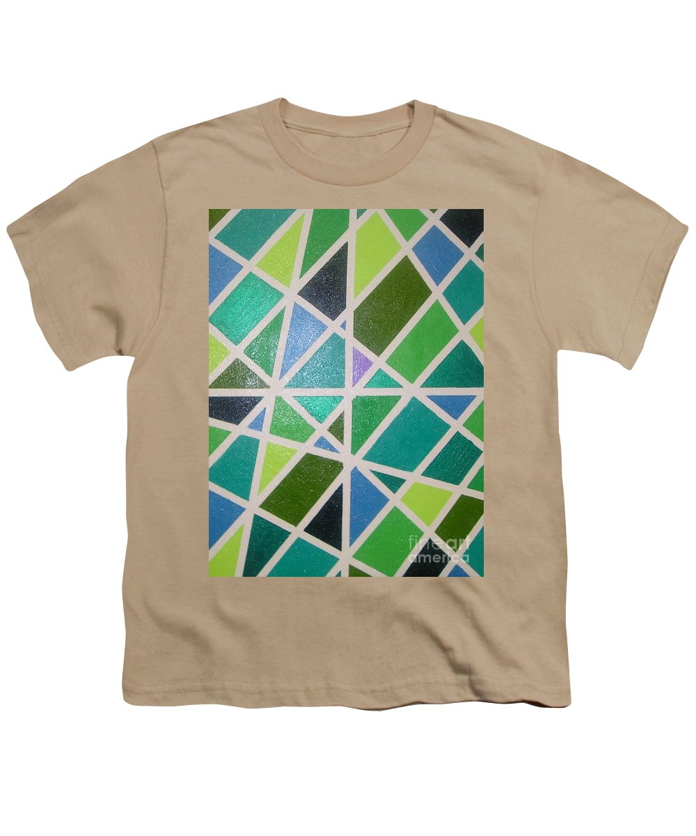 Green Youth T-Shirt featuring the painting Sea Glass Revisited by Maria Bonnier-Perez