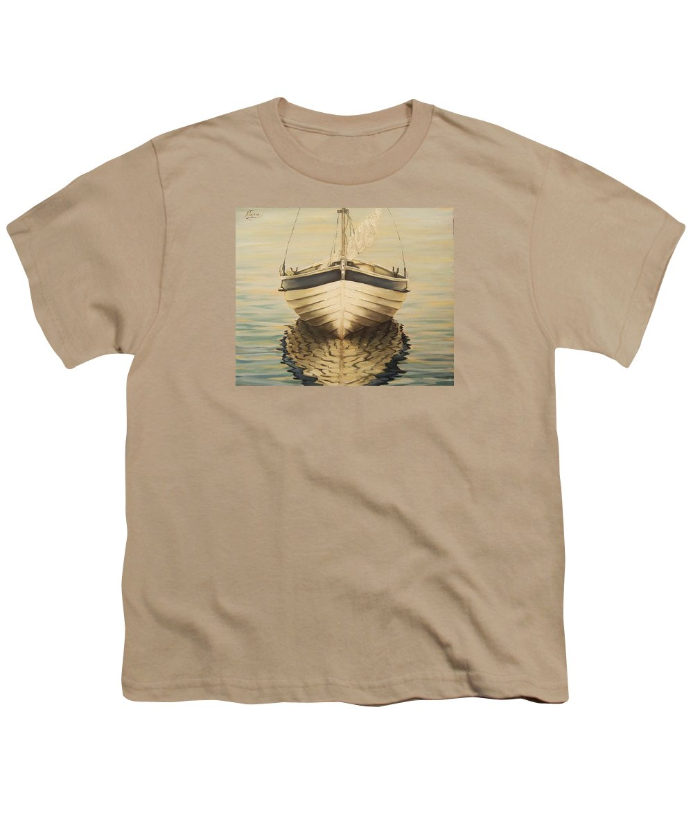 Seascape Youth T-Shirt featuring the painting Serenity by Natalia Tejera