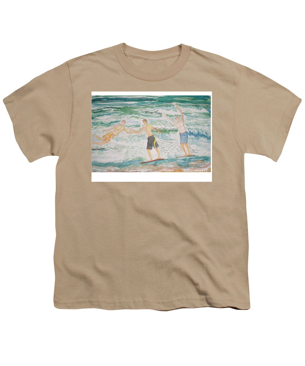 Seascape Youth T-Shirt featuring the painting Skim Boarding Daytona Beach by Hal Newhouser