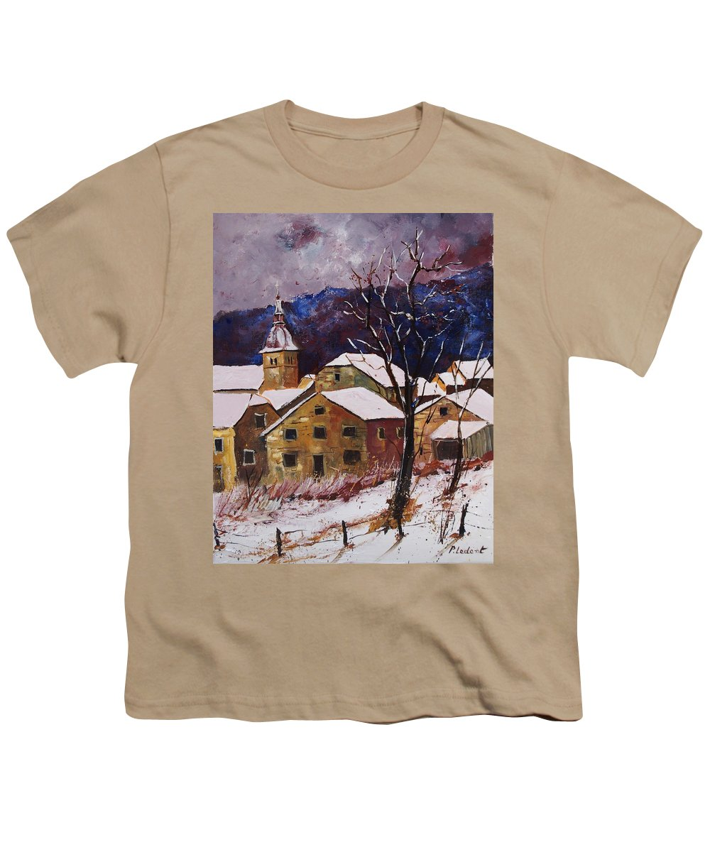 Landscape Youth T-Shirt featuring the painting Snow In Chassepierre by Pol Ledent