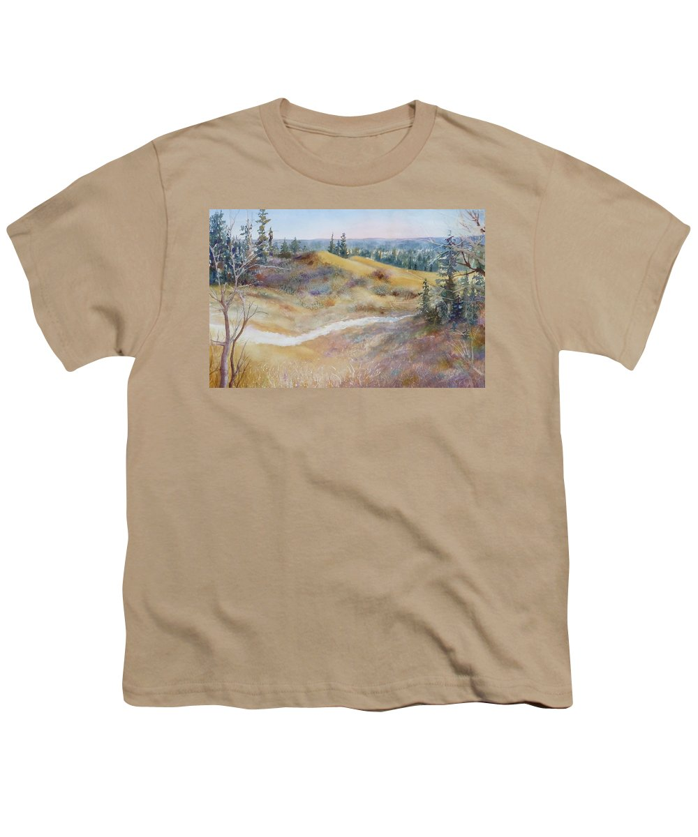 Landscape Youth T-Shirt featuring the painting Spirit Sands by Ruth Kamenev