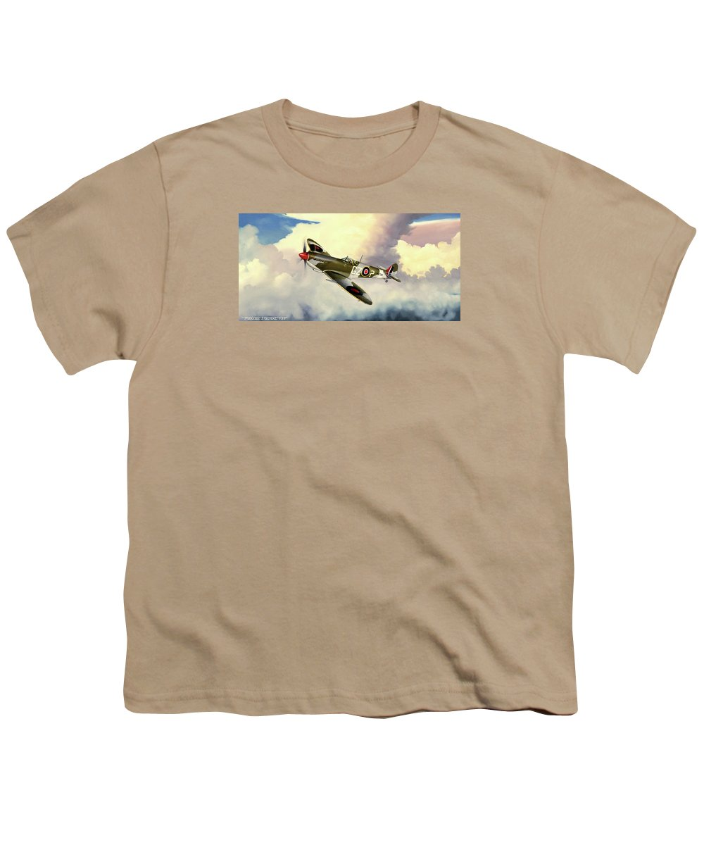 Military Youth T-Shirt featuring the painting Spitfire by Marc Stewart