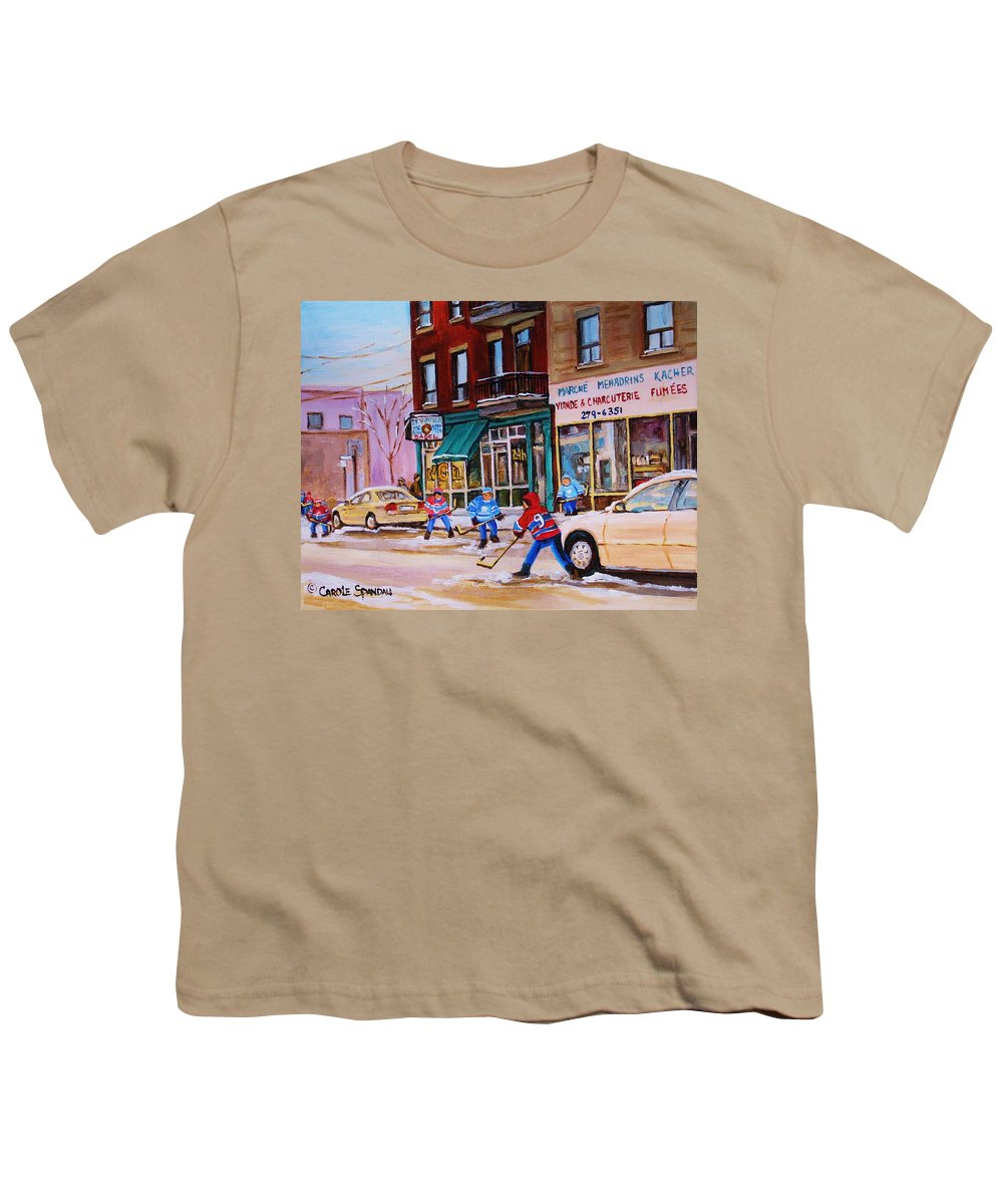 Montreal Youth T-Shirt featuring the painting St. Viateur Bagel With Boys Playing Hockey by Carole Spandau