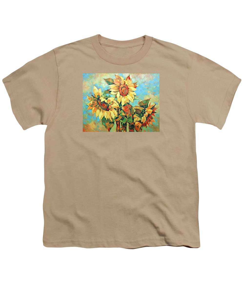 Sunflowers Youth T-Shirt featuring the painting Sunflowers by Iliyan Bozhanov