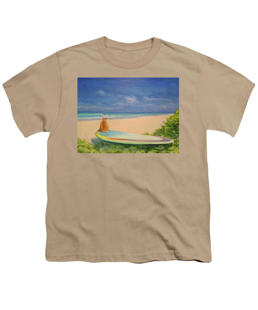 Cat Youth T-Shirt featuring the painting Surfer Cat by Paul Emig