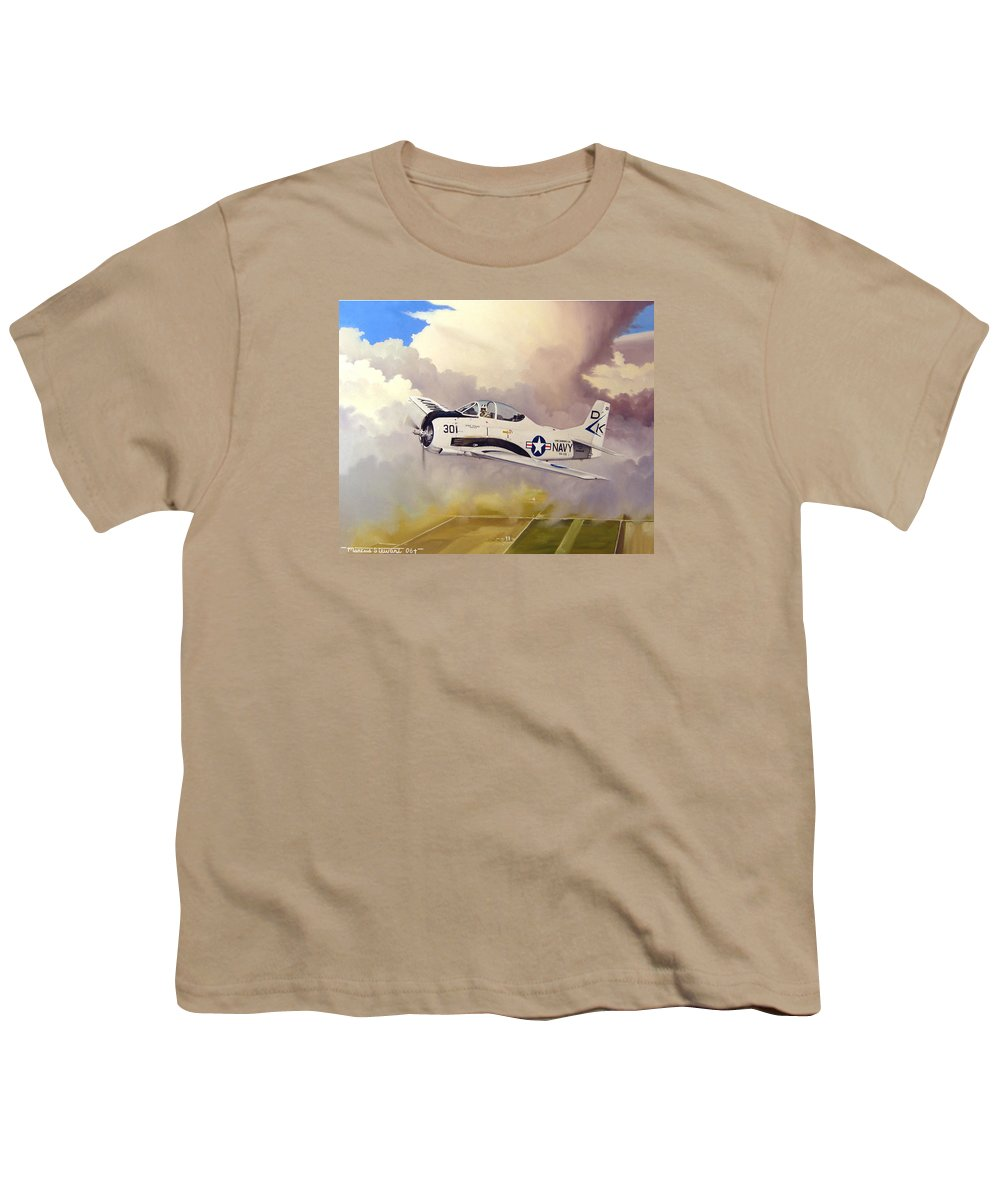 Military Youth T-Shirt featuring the painting T-28 Over Iowa by Marc Stewart