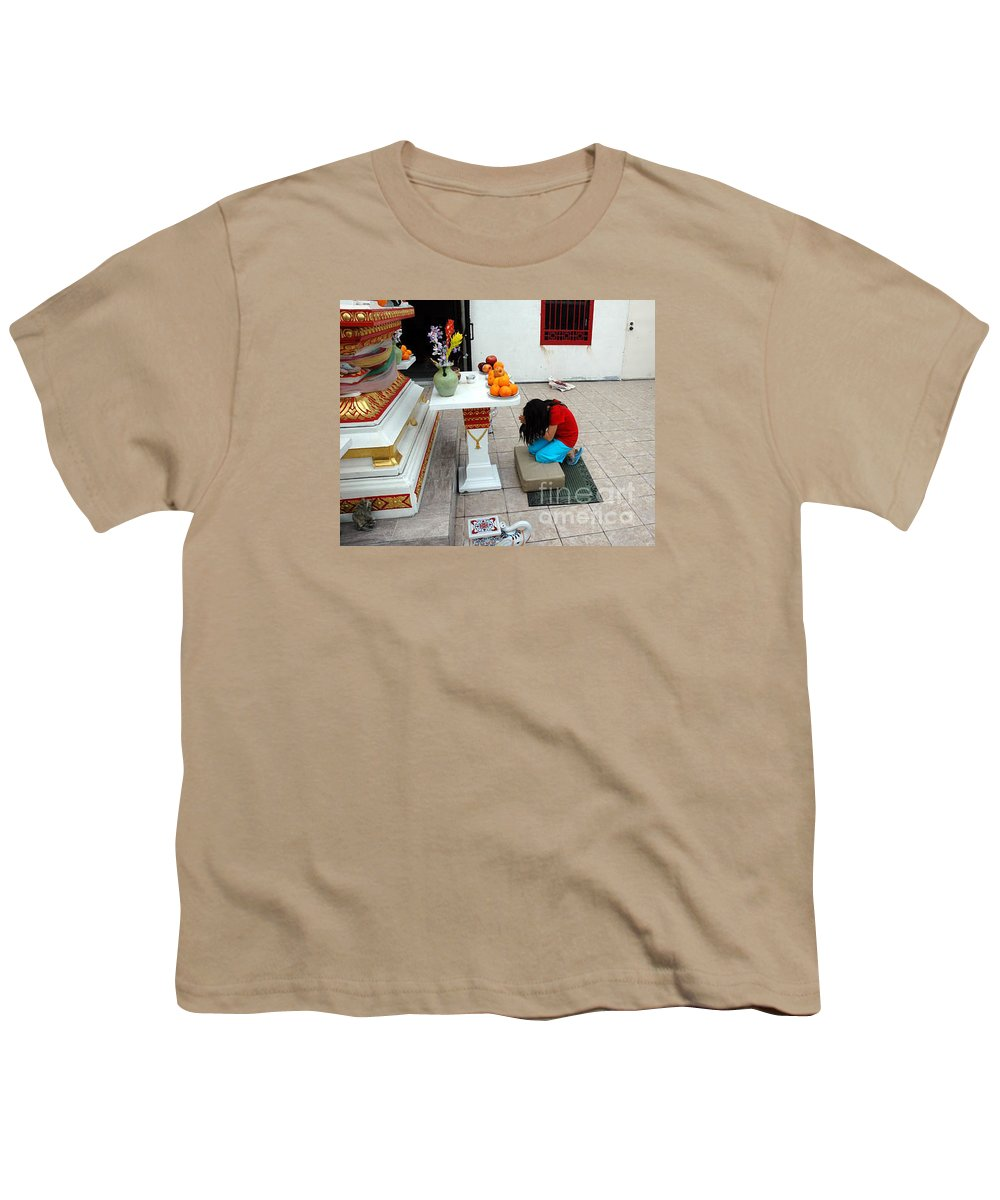 Child Youth T-Shirt featuring the photograph Temple Prayer by Michael Ziegler