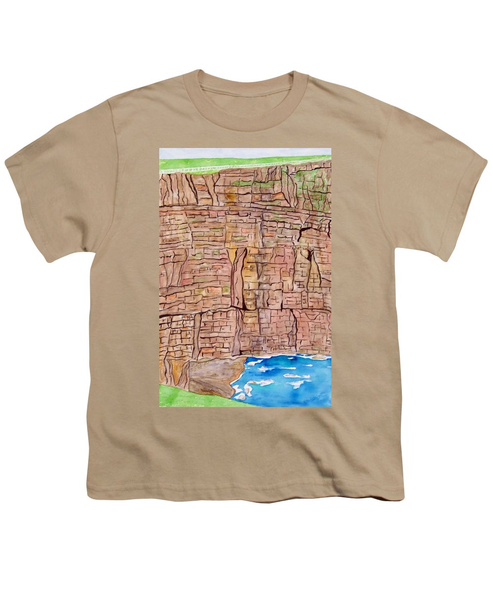 Ireland Art Youth T-Shirt featuring the painting The Cliffs Of Mohr In Ireland by Larry Wright