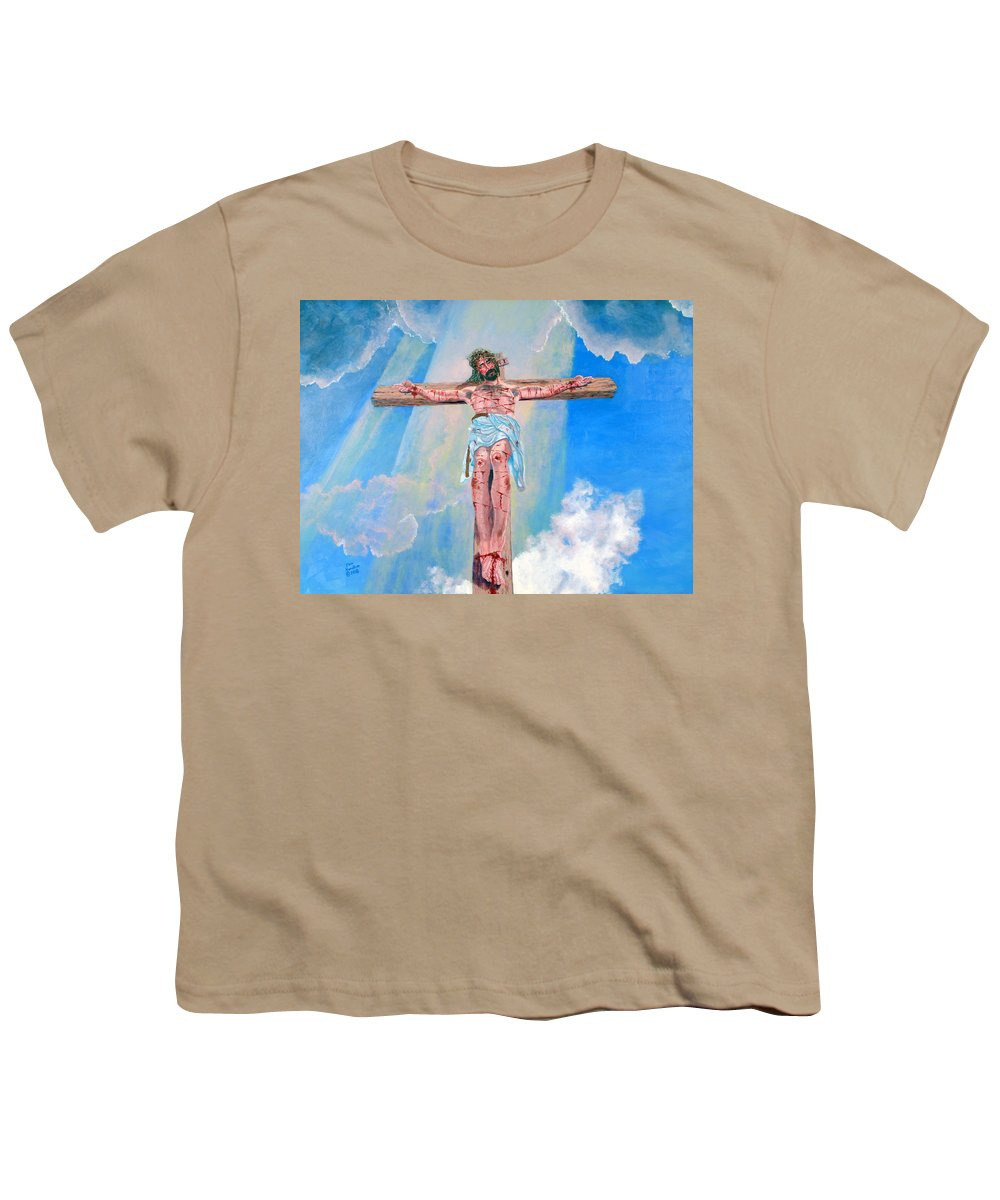 Christian Youth T-Shirt featuring the painting The Crucifixion Daytime by Stan Hamilton