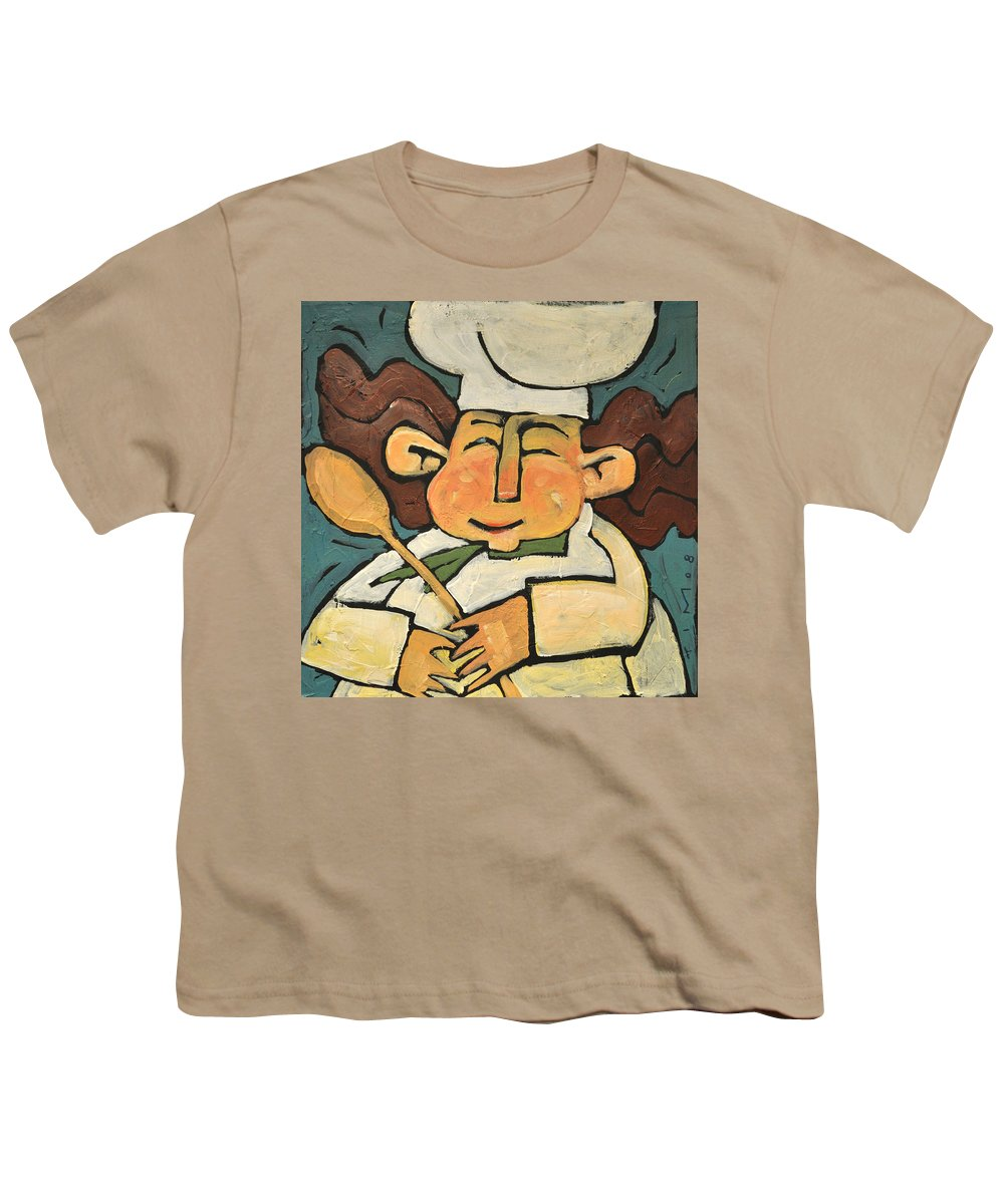 Chef Youth T-Shirt featuring the painting The Happy Chef by Tim Nyberg