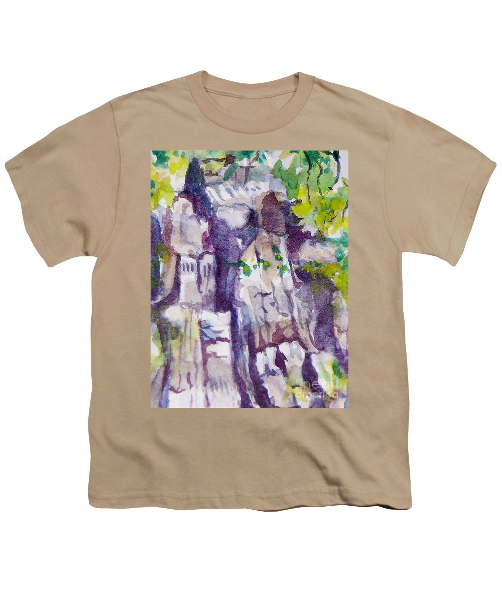 Purple Youth T-Shirt featuring the painting The Little Climbing Wall by Jan Bennicoff