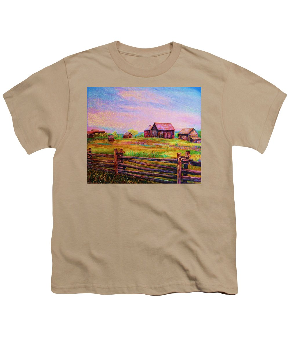 Ranches Youth T-Shirt featuring the painting The Log Fence by Carole Spandau