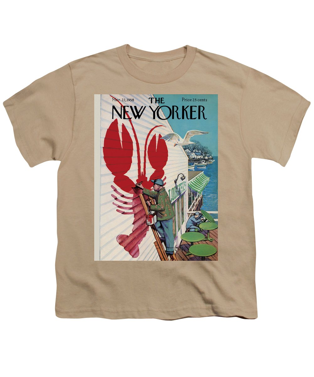 Food Youth T-Shirt featuring the painting New Yorker March 22, 1958 by Arthur Getz