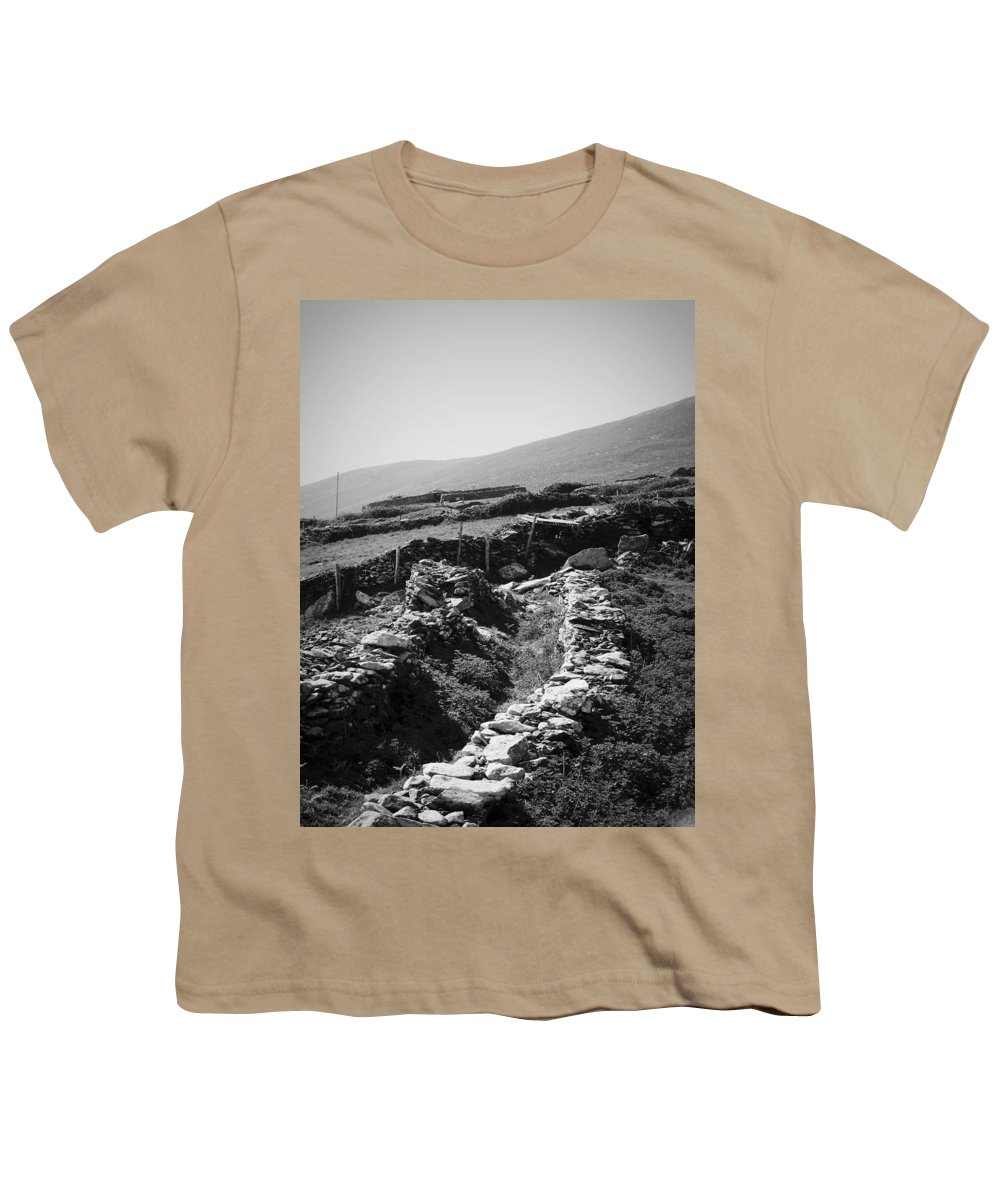 Irish Youth T-Shirt featuring the photograph The Path To The Beehive Huts In Fahan Ireland by Teresa Mucha